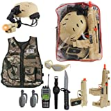 deAO Military Soldier Camouflage Desert War Costume Set with Helmet, Toy Shotgun, Toy Grenades, Military Soldier Accessories