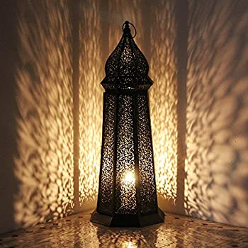 Orientalische Laterne aus Metall Schwarz Frane 105cm groß
