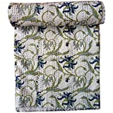 Kirti Textiles And Handicraft Home Décor Kantha Quilt Floral Print Kantha Bed Cover Single Size Kantha Bedspread