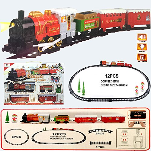 FunkyBuys® Extra Large Christmas Holiday Express Festive Train (SI-TY1018) Set Toy Light / Sounds / Battery Operated by FunkyBuys - Zug-christmas Lights