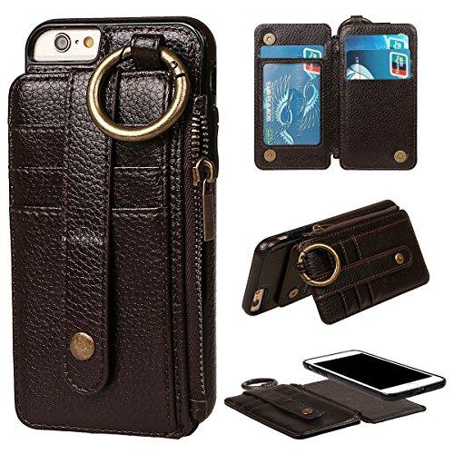 """Coque pour iPhone 6/6S, xhorizon étui en Cuir de Haute Qualité Portefeuille Porte-monnaie Magnétique Amovible Détachable Séparable avec des fentes de cartes pour iPhone 6 6S [4.7""""] Café"""