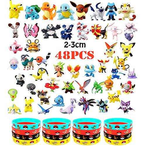 OMZGXGOD - 48 pièces Pokémon Mini Figures Action Figurines + 16 pièces Pokémon Bracelets Enfants et Adultes Party Celebration