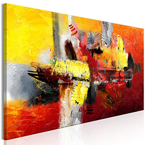 murando - Bilder Abstrakt 150x50 cm Vlies Leinwandbild 1 TLG Kunstdruck modern Wandbilder XXL Wanddekoration Design Wand Bild - rot gelb a-A-0360-b-a