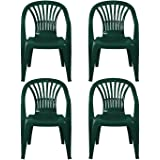 simpahome Stackable Clam Style Back Plastic Garden Chairs - GREEN - Set of 4 Chairs for Indoor or Outdoor Use.