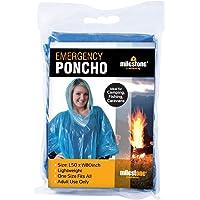 "Milestone Camping 20500 Emergency Reusable Rain Poncho with Hood, 80"" x 50"",Blue"