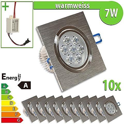 1 x foco LED empotrable 7 W cuadrado - luz blanca cálida lámpara, blanco cálido, 10 unidades