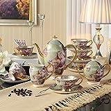 Chaoson Full Set Vintage Painting Bone China Coffee Set Luxury Porcelain Tea Cup Mug Ceramic Pot Jar Tray Set Drinkware for Party Gift