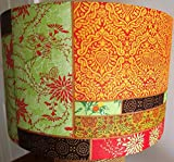 Oriental Lampshade, vintage, shabby chic, orange green patchwork