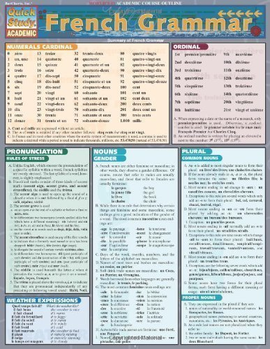 French Grammar Laminate Reference Chart (Quickstudy: Academic) (2000)