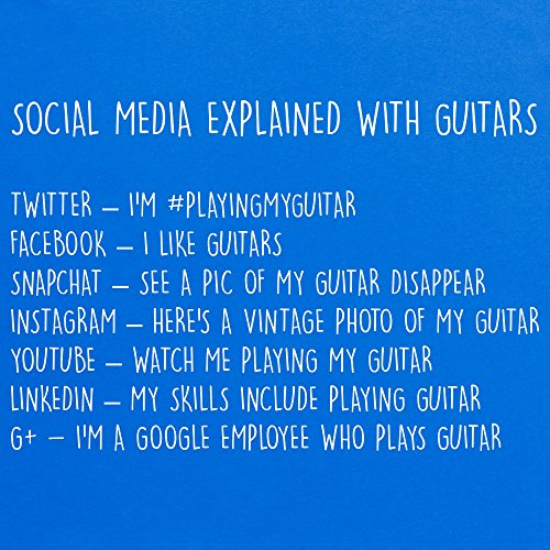 Social Media Explained With Guitars T-Shirt, Herren Royalblau