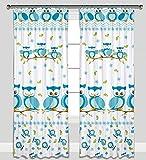 Kinder Vorhänge für Kinderzimmer 100% Baumwolle, 155 x 155 cm (blaue eulen)