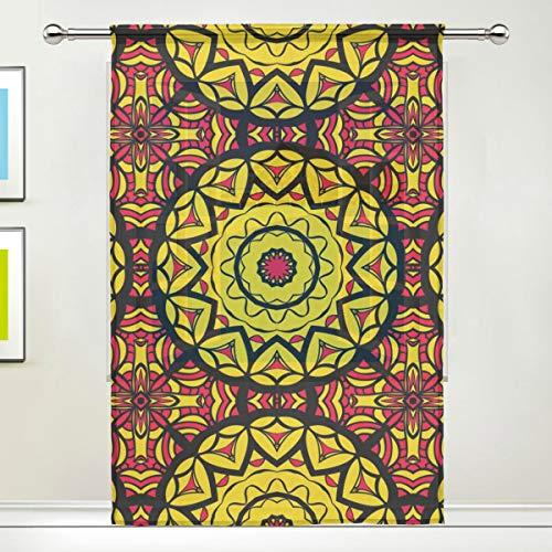 ALARGE Vorhang für Fenster, Mandala-Blumenmuster, Voile-Vorhang, Dekoration, Küche, Wohnzimmer, Schlafzimmer, Türfenster, 1 Stück, Multi, 55