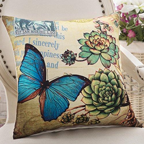 American Country Kissen Schmetterlinge und Blumen-Kissen Sofakissen Büro-Stuhl-Kissen Auto-Kissen-C 45x45cm(18x18inch)VersionA (Stoff Abgedeckt Stühle)