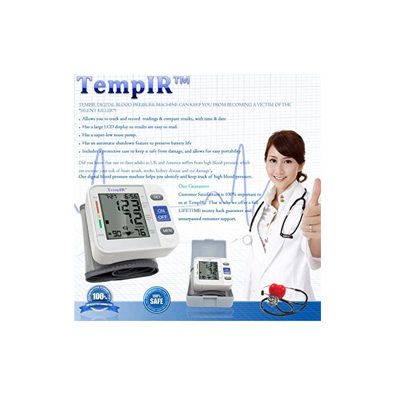 Wrist Blood Pressure Monitor Adjustable Cuff. Fully Automatic. Pulse Diastolic Systolic and Hypertension Level. Home Use…