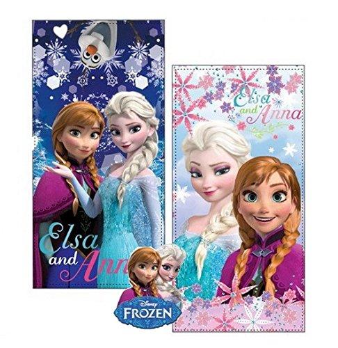 Frozen set due teli mare in microfibra ad alta assorbenza 300 gr/mq stampa fotografica, 100 x 70 cm, originali con etichetta. (set 1)