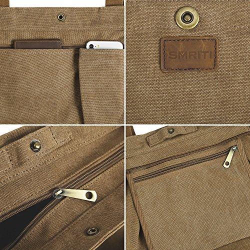 SMRITI Borsa Tote a tracolla in tela di cotone Shopping Bag - Blu 3 Caffè