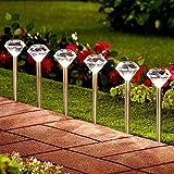 Solalite® LED-Gartenlaternen, Solarlichter aus Edelstahl mit Diamantköpfen, zum Einstecken, Packung enthält 10 Stück