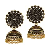 #10: Jaipur Mart Oxidised Gold Plated Jhumki Earrings For Women