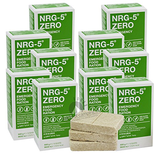Notverpflegung 10x NRG-5 ZERO Glutenfrei Survival 500g Notration Notvorsorge   10x9 Riegel Survivalnahrung Expeditions Grundausstattung wie EPA