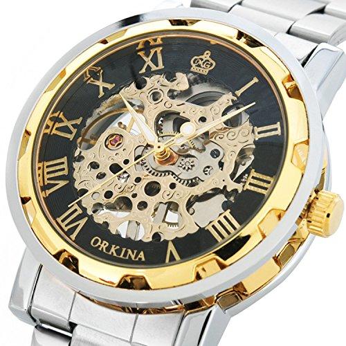 GuTe clásico de oro de acero negro para hombre esqueleto mecánico reloj de pulsera,