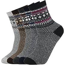 5 Pares de Calcetines de Lana Tejida Gruesa Cálida y Suave para Invierno y Otoño de Estilo Antiguo para Hombres