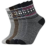 5 paires de chaussettes de tennis automne/hiver en laine épaisse et au style vintage pour hommes (38-44, Couleur 3)
