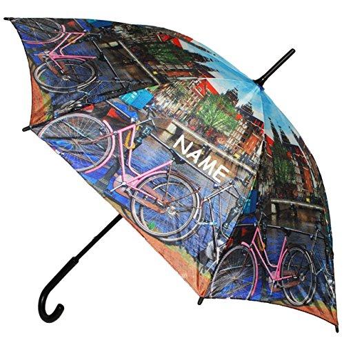 """großer XL Regenschirm - """" Holland / Amsterdam - Käse Niederlande - Grachten """" - incl. Name - ø 110 cm - Schirm - Stockschirm für - Damen - Herren / Erwachsene - Frauen / Partnerschirm - groß / sturmfest - einfarbige blaue - Regenschirme"""
