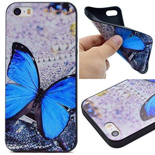 Hülle für iPhone SE 5 5S 5G, Schwarz Silikon Schutzhülle für iPhone SE 5 5S 5G Case TPU Bumper Handyhülle, Cozy Hut ® [Thin Fit] [Schock Absorption] Soft Flex Silikon Schlanke Hülle [Schwarz] Premium  Blue Butterfly