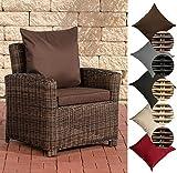 CLP Poly-Rattan Garten-Sessel FISOLO mit Armlehnen, 5 mm Rund-Rattan, ALU Gestell Rattan Farbe: braun-meliert, Bezugfarbe: Terrabraun