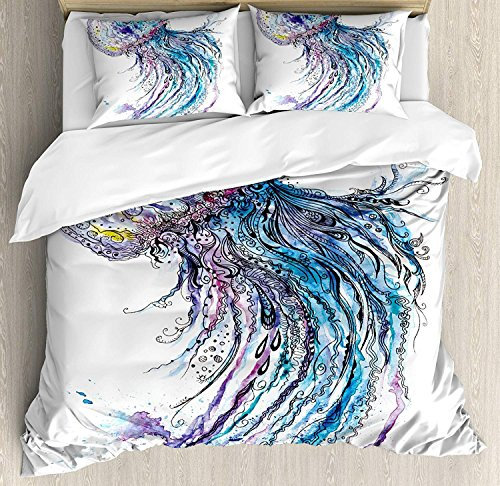 Qualle 3-teiliges Bettwäscheset Bettbezug-Set, Aqua Colors Art Ocean Animal Print Skizzenstil Kreativ Sea Marine Theme, 3-teiliges Tröster- / Qulitbezug-Set mit 2 Kissenbezügen, Blau, Lila, Weiß -