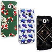 Custodia Cover Galaxy S6, Lanveni 3 pcs Caso Rigida PC Ultra Sottile per Samsung Galaxy S6 (non per S6 Edge) Trasparente Protective Case - Modello Disegno elefante + Babbo Natale + Arte Contemporanea