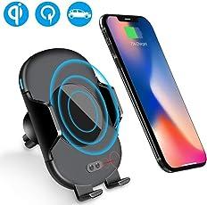Qi ladegerät Handyhalter fürs Auto - LUXSURE Infrarot-Sensor Vollautomatisch Öffnen/Schließen Wireless Charger kfz Universal Handyhalterung Auto Lüftung Schnell Induktion Ladegerät iPhone XS/XS Max/XR/X/8/8 Plus, Galaxy Note 9/S9/S9+/S8/Note 8/S7 und alle Qi-fähige Handys