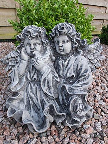 Steinfigur ENGEL Junge und Mädchen Frostfest Steinguss Gartenfigur