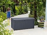 Keter Borneo Outdoor Plastic Storage Box Garden Furniture, 129.5 x 70 x 62.5 cm - Anthracite