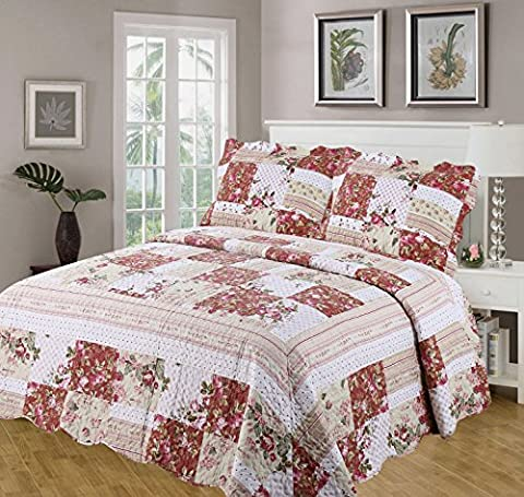 King Size Bed Rosie Bedspread Set, Throw Over & Pillow Shams, Quilted Multi Scalloped Edge, Patchwork Flowers Striped Polka Dot Floral Border, Dusky Pink Lime Moss Green Beige Cream White