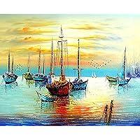 Bricolaje pintura al óleo pintura por número Kit sobre lienzo con – sol Naciente de pigmentos