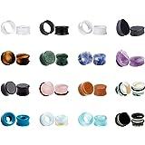 KUBOOZ Set 32 pezzi Misto pietra acrilica tappi per orecchie in vetro Tunnel Calibri Piercing barella