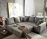 Couch Lavello mit Hocker Ecksofa L-Sofa (Eckcouch Links mit Hocker, Grau)