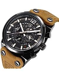 Benyar Sport pour hommes montres Squelette militaire chronographe à quartz Homme extérieur Grand cadran montre l'armée mâle montre bracelet Marron Sangle montre