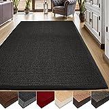 casa pura® Sisal Teppich aus Naturfasern | schwarz | mit Bordüre aus Baumwolle | pflegeleicht | Größe wählbar (70x130 cm)