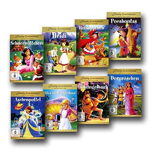 8 Märchen- und Film-Klassiker für die Kleinsten - DVD-Set - Aschenputtel / Dornröschen / Rotkäppchen / Schneewittchen / Heidi / Alice im Wunderland / Pocahontas / Das Dschungelbuch [8 DVDs] - Zeichentrick -