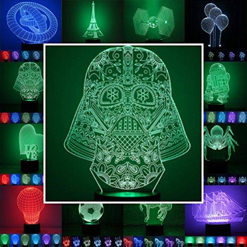 3D Lampe 3D Leuchte 3D LED Stimmungslicht. 7 Farben - Auswahl aus 81 verschiedenen Motiven, hier Darth Vader 2 ca.23x16cm inkl.Sockel - 3D Illusion Dekolicht mit USB Anschluß und 220V USB Netzteil