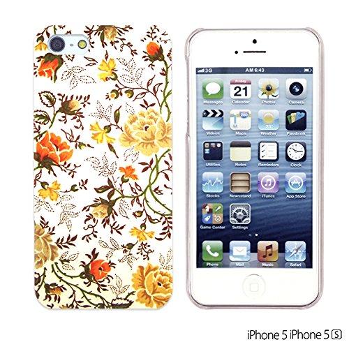 OBiDi - Flower Pattern Hardback Case / Housse pour Apple iPhone SE / Apple iPhone 5S / 5 - Colorful Flowers With Birds Vintage Floral Print