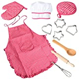 ThinkMax Set de 11 piezas de chef, juegos de rol de vestuario de cocina, delantal de niña con gorro de cocinero, mitón de cocina y cortadores de galletas