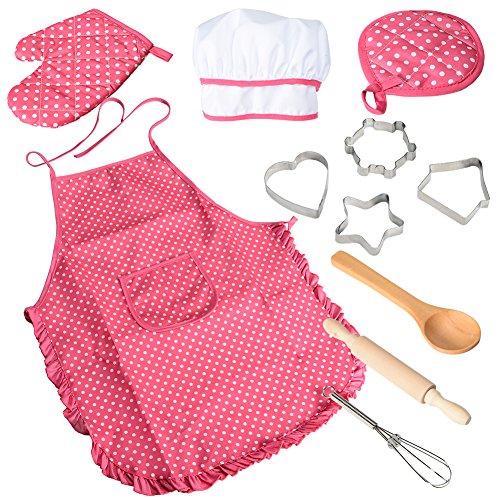et, Küchenkostüm Rollenspiele, Mädchen Schürze mit Kochmütze, Kochmesser und Ausstecher ()