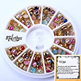 BTArtbox New Trendy Colorful 3d Nail Art Gold Edge Pearl Beads Wheels Glitter Decal DIY Decorations for Nail Art DIY Decoration &Cell Phone