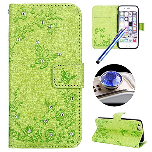 Etsue Custodia iPhone 6S Plus Portafoglio,iPhone 6 Plus Cover Viola,Lusso Style Farfalla&Fiori Modello Scintillare Strass Purple Flip/Wallet/Libro in Pelle Puro Per Donna Ultra Sottile Case Cover Con  Green,Farfalla