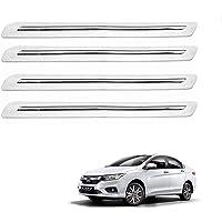 Kozdiko Car Single Chrome White Bumper Protector Set of 4 Pcs for Honda City 2017