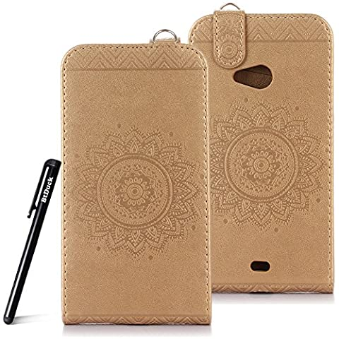 Case for Microsoft Lumia N535 wallet Embossed Flowers case,Nokia Lumia 535 Premium Ceramic pattern flip cover,BtDuck protective case Earthly gold shell Retro Buddhism Solid color special Chinese Style skin Case for Open vertically Holster Full-body protection machine Totem Anti-scratch Shock Resistant Strong magnetic buckle Magnet Closure [with Lanyard Strap / Rope] Credit Card/Cash Holder Slot - Tuhao Gold angel's trumpet
