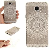 Coque Galaxy A5 (2016) A510 , IJIA Ultra-mince Transparent Belles Fleurs Blanches TPU Doux Silicone Bumper Case Cover Shell Housse Etui pour Samsung Galaxy A5 (2016) A510 + 24K Or Autocollant (MM34)